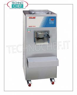 TECHNOCHEF - Professional ice cream batch freezer, capacity 8 liters, model PRATICA42-60 HIGH PRODUCTIVITY VERTICAL CYLINDER ICE CREAM FREEZER, AUTOMATIC EXTRACTION, CYCLE MIXTURE CAPACITY from 4 to 8 lt, MAX HOURLY PRODUCTION: 60 lt, WATER cooling, V.400 / 3 + N, Kw 6.7, dim . mm 490x700x1120h