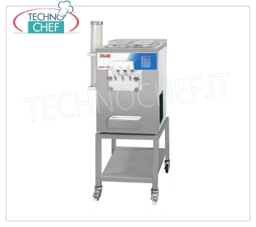 TECHNOCHEF - Professional Ice Cream Machines, 2 Cylinders, 3 Products, 200 cones / hour, Mod.SOFTGEL320P SOFT ICE or FROZEN YOGURT ice cream machine, table with CONE HOLDER, delivers 2 FLAVORS and 1 MIXED, max yield 200 CONES / HOUR max, V.230 / 1, Kw 2.9, Weight 140 Kg, dim.mm.550x600x820h
