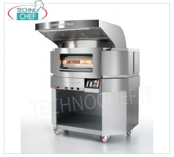 CUPPONE - GIOTTO electric pizza oven, rotating top Ø 1100 mm, Mod. GT110 / 1TS GIOTTO electric pizza oven with rotating hob in refractory 1100 mm diameter and sheet metal chamber, integrated PYROLYSIS, ECONOMY and FAST RECOVERY functions, V 400/3 + N, Kw 14.6, Weight 460 Kg, external dimensions mm 1366x1438x1696h