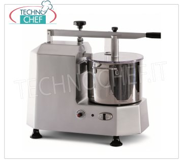 TECHNOCHEF - Professional Cutter with 5 lt tank, Mod.C2 Professional cutter with stainless steel tank 5 liters, 1 speed, rpm 730 rpm, V 230/1, Kw 1.15, weight 24.6 kg, dim.mm.710x320x850h.