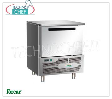 FORCAR - Technochef, Professional Blast Chiller, 5 GN 1/1 Trays, Mod.G-D5A BLAST CHILLER-FREEZER with GUIDE for 5 TRAYS Gastro-Norm 1/1 or mm.600x400, Version With ECOLOGICAL GAS R290 E, yield POSITIVE CYCLE + 90 ° + 3 ° C / Kg. 18, NEGATIVE CYCLE + 90 ° -18 ° C / Kg. 14, V.230 / 1 + N, Kw. 0.8, Weight 95 Kg, dim.mm.800x815x1015h