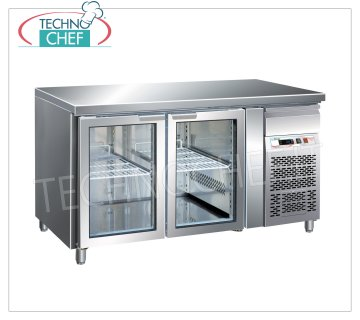 Forcar - Refrigerated Table Fridge 2 Glass Doors, lt. 282, Temp. -2 ° / + 8 ° C, Ventilated, mod.G-GN2100TNG Refrigerated Table 2 Glass Doors and neutral drawer, Professional, capacity 282 lt, temperature -2 ° / + 8 ° C, Gastronorm 1/1, ventilated refrigeration, Gas R290, internal light, V.230 / 1, Kw.0.26 , Weight 98 Kg, dim.mm.1360x700x860h