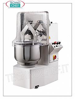 TECHNOCHEF - DIFFUSER ARMS MIXER, with FIXED STAINLESS STEEL TANK, lt. 47, Model TWINTECH302T Kneading machine with dipping arms, TWINTECH line, with 47-liter stainless steel fixed bowl, 33 kg dough capacity, 2-speed version, 2 digital timers, V.400 / 3, Kw. 1,1 / 1,6, weight 235 kg , dim.mm.660x760x1230h