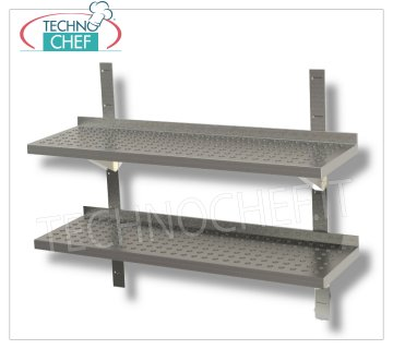 DOUBLE SHELF STAINLESS STAINLESS 304 PERFORATED WALL with UPSTAND, BRACKETS and RACK, 30 cm deep Double perforated stainless steel wall shelf with backsplash, 2 brackets and 2 racks, Weight 4 Kg, dim.mm.600x300x40h.