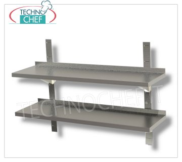 DOUBLE STAINLESS STAINLESS 304 SMOOTH WALL SHELF with UPSTAND, BRACKETS and RACK, 30 cm deep Double smooth stainless steel wall shelf with backsplash, 2 brackets and 2 racks, Weight 4 Kg, dim.mm.600x300x40h.