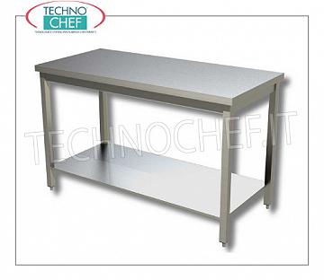 304 stainless steel tables, on legs with lower shelf, depth 700 mm Work table on legs with lower shelf without upstand, dim. mm 400x700x850h