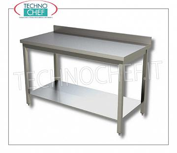304 stainless steel tables, on legs with lower shelf and backsplash, 600 mm depth Work table on legs with lower shelf and upstand, dim. mm 400x600x850h