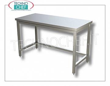 304 stainless steel tables, on legs with tubular frame on 3 sides, depth 700 mm Work table on legs with frame, dim. mm 400x700x850h