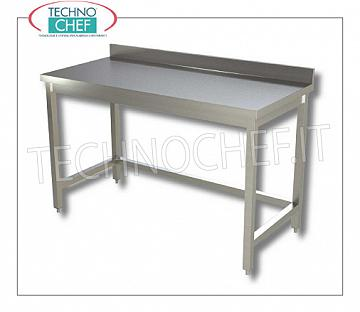 304 stainless steel tables, with frame and backsplash, 700 mm depth Work table on legs with frame and upstand, dim. mm 400x700x850h