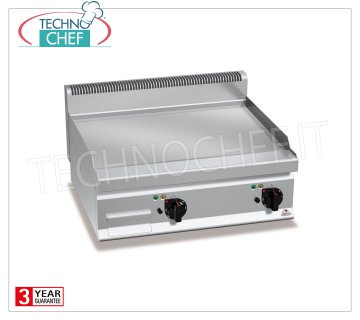 TECHNOCHEF - ELECTRIC FRY TOP with SMOOTH PLATE, DOUBLE TOP module, Mod.E7FL8BP-2 ELECTRIC FRY TOP with SMOOTH PLATE, BERTOS, MACROS 700 Line, MULTIPAN POWERED Series, DOUBLE TOP module with COOKING AREA of 795x500 mm, INDEPENDENT CONTROLS, V.400 / 3 + N, Kw.9,6, Weight 71 Kg, dim. mm.800x700x290h