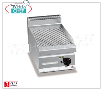 TECHNOCHEF - ELECTRIC FRY TOP with STRIPED PLATE, 1 TOP module, Mod.E7FR4BP ELECTRIC FRY TOP with STRIPED PLATE, BERTOS, MACROS 700 Line, MULTIPAN POWERED Series, 1 TOP module with COOKING AREA of 395x500 mm, V.400 / 3 + N, Kw.4.8, Weight 37 Kg, dim.mm.400x700x290h