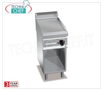 TECHNOCHEF - ELECTRIC FRY TOP with STRIPED PLATE, 1 module on DAY COMPARTMENT, Mod.E7FR4MP ELECTRIC FRY TOP with STRIPED PLATE, BERTOS, MACROS 700 Line, MULTIPAN POWERED Series, 1 module on DAY COMPARTMENT with COOKING AREA of 395x500 mm, V.400 / 3 + N, Kw.4.8, Weight 48 Kg, dim. mm.400x700x900h