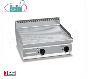 TECHNOCHEF - ELECTRIC FRY TOP with STRIPED PLATE, DOUBLE TOP module, Mod.E7FR8BP-2 ELECTRIC FRY TOP with STRIPED PLATE, BERTOS, MACROS 700 Line, MULTIPAN POWERED Series, DOUBLE TOP module with COOKING AREA of 795x500 mm, INDEPENDENT CONTROLS, V.400 / 3 + N, Kw.9,6, Weight 71 Kg, dim. mm.800x700x290h