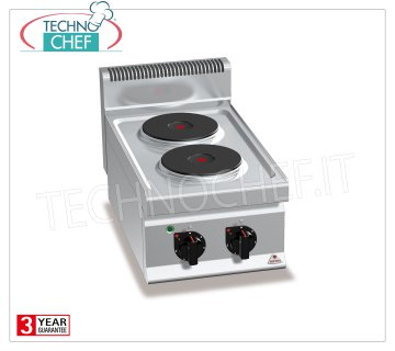 TECHNOCHEF - 2 TOP PLATE ELECTRIC RANGE, Kw.5,2, Mod.E7P2B 2 TOP PLATE ELECTRIC RANGE, BERTOS, MACROS 700 Line, HIGH POWER Series, with 2 ROUND Ø 220 mm plates, INDEPENDENT CONTROLS, 6 power levels, V.400 / 3 + N, Kw.5,2, Weight 24 Kg, dim.mm.400x700x290h