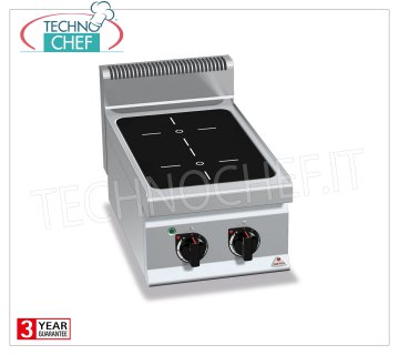 TECHNOCHEF - ELECTRIC RANGE 2-AREA INFRARED TOP, Kw.4.4, Mod.E7P2B / VTR 2-ZONE ELECTRIC TOP INFRARED KITCHEN, BERTOS, MACROS 700 Line, INFRARED Series, with 2 QUADRE zones 230x230 mm, INDEPENDENT CONTROLS, V.400 / 3 + N, Kw.4.4, Weight 22 Kg, dim.mm. 400x700x290h