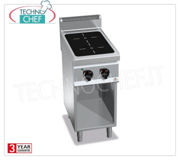 TECHNOCHEF - ELECTRIC RANGE 2 INFRARED ZONES on ROOMS per DAY, Kw.4.4, Mod.E7P2M / VTR ELECTRIC RANGE 2 INFRARED AREAS on DAY COMPARTMENT, BERTOS, MACROS 700 Line, INFRARED Series, with 2 QUADRE zones 230x230 mm, INDEPENDENT CONTROLS, V.400 / 3 + N, Kw.4.4, Weight 42 Kg, dim .mm.400x700x900h