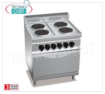 TECHNOCHEF - 4-PLATE ELECTRIC RANGE on OVEN GN 2/1, Kw.17.9, Mod.E7P4 + FE 4 PLATE ELECTRIC RANGE on GN 2/1 ELECTRIC OVEN, BERTOS, MACROS 700 Line, HIGH POWER Series, with 4 ROUND Ø 220 mm plates, INDEPENDENT CONTROLS, 6 power levels, V.400 / 3 + N, Kw.17, 9, Weight 100 Kg, dim.mm.800x700x900h