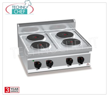 TECHNOCHEF - 4 TOP PLATE ELECTRIC RANGE, Kw.10.4, Mod.E7P4B 4 TOP PLATE ELECTRIC RANGE, BERTOS, MACROS 700 Line, HIGH POWER Series, with 4 ROUND Ø 220 mm plates, INDEPENDENT CONTROLS, 6 power levels, V.400 / 3 + N, Kw.10.4, Weight 41 Kg, dim.mm.800x700x290h