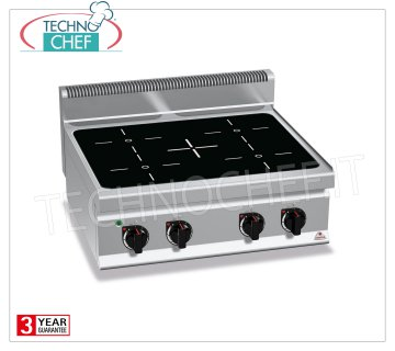 TECHNOCHEF - INFRARED 4-AREA ELECTRIC COOKER TOP, Kw.12,8, Mod.E7P4B / VTR 4 ZONE ELECTRIC TOP INFRARED KITCHEN, BERTOS, MACROS 700 Line, INFRARED Series, with 4 QUADRE zones of 230x230 mm, INDEPENDENT CONTROLS, V.400 / 3 + N, Kw.12,8, Weight 42 Kg, dim.mm. 800x700x290h