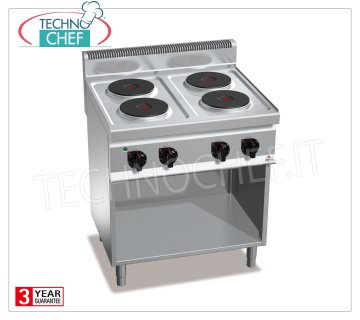 TECHNOCHEF - 4-PLATE ELECTRIC COOKER on DAY COMPARTMENT, Kw.10.4, Mod.E7P4M 4-PLATE ELECTRIC RANGE on BAYROOM, BERTOS, MACROS 700 Line, HIGH POWER Series, with 4 ROUND Ø 220 mm plates, INDEPENDENT CONTROLS, 6 power levels, V.400 / 3 + N, Kw.10.4, Weight 59 Kg, dim.mm.800x700x900h