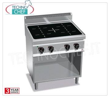 TECHNOCHEF - ELECTRIC COOKING 4 INFRARED AREAS on DAY COMPARTMENT, Kw.12,8, Mod.E7P4M / VTR ELECTRIC RANGE 4-AREA INFRARED RANGE on DAY COMPARTMENT, BERTOS, MACROS 700 Line, INFRARED Series, with 4 QUADRE zones of 230x230 mm, INDEPENDENT CONTROLS, V.400 / 3 + N, Kw.12,8, Weight 65 Kg, dim .mm.800x700x900h