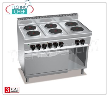 TECHNOCHEF - 6-PLATE ELECTRIC RANGE on OVEN GN 2/1, Kw.23,1, Mod.E7P6 + FE 6 PLATE ELECTRIC RANGE on GN 2/1 ELECTRIC OVEN, BERTOS, MACROS 700 Line, HIGH POWER Series, with 6 ROUND Ø 220 mm plates, INDEPENDENT CONTROLS, 6 power levels, V.400 / 3 + N, Kw.23, 1, Weight 129 Kg, dim.mm.1200x700x900h