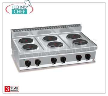 TECHNOCHEF - 6 TOP PLATE ELECTRIC RANGE, Kw.15,6, Mod.E7P6B 6 TOP PLATE ELECTRIC RANGE, BERTOS, MACROS 700 Line, HIGH POWER Series, with 6 ROUND Ø 220 mm plates, INDEPENDENT CONTROLS, 6 power levels, V.400 / 3 + N, Kw.15.6 Weight 58 Kg, dim .mm.1200x700x290h