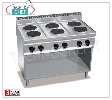 TECHNOCHEF - 6-PLATE ELECTRIC COOKER on DAY COMPARTMENT, Kw.15,6, Mod.E7P6M ELECTRIC RANGE 6 PLATES on DAY COMPARTMENT, BERTOS, MACROS 700 Line, HIGH POWER Series, with 6 ROUND Ø 220 mm plates, INDEPENDENT CONTROLS, 6 power levels, V.400 / 3 + N, Kw.15.6 Weight 83 Kg, dim.mm.1200x700x900h