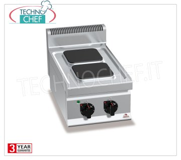 TECHNOCHEF - 2 TOP PLATE ELECTRIC RANGE, Kw.5,2, Mod.E7PQ2B 2 TOP PLATE ELECTRIC RANGE, BERTOS, MACROS 700 Line, HIGH POWER Series, with 2 SQUARE 220x220 mm plates, INDEPENDENT CONTROLS, 6 power levels, V.400 / 3 + N, Kw.5.2, Weight 28 Kg, dim.mm.400x700x290h