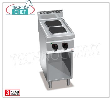 TECHNOCHEF - 2-PLATE ELECTRIC COOKER on DAY COMPARTMENT, Kw.5,2, Mod.E7PQ2M 2-PLATE ELECTRIC RANGE on the DAY COMPARTMENT, BERTOS, MACROS 700 Line, HIGH POWER Series, with 2 SQUARE 220x220 mm plates, INDEPENDENT CONTROLS, 6 power levels, V.400 / 3 + N, Kw.5.2, Weight 41 Kg, dim.mm.400x700x900h