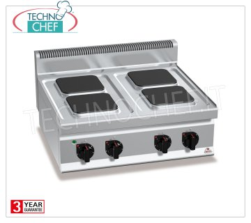 TECHNOCHEF - 4 TOP PLATE ELECTRIC RANGE, Kw.10.4, Mod.E7PQ4B 4 TOP PLATE ELECTRIC RANGE, BERTOS, MACROS 700 Line, HIGH POWER Series, with 4 SQUARE 220x220 mm plates, INDEPENDENT CONTROLS, 6 power levels, V.400 / 3 + N, Kw.10.4, Weight 49 Kg, dim.mm.800x700x290h