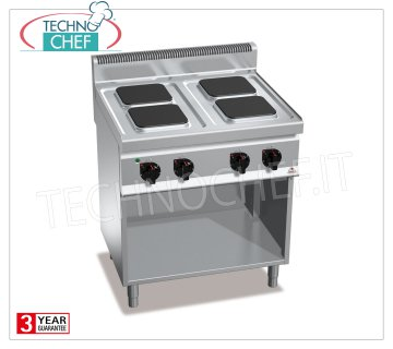 TECHNOCHEF - 4-PLATE ELECTRIC COOKER on DAY COMPARTMENT, Kw.10.4, Mod.E7PQ4M ELECTRIC RANGE 4 PLATES on DAY COMPARTMENT, BERTOS, MACROS 700 Line, HIGH POWER Series, with 4 SQUARE 220x220 mm plates, INDEPENDENT CONTROLS, 6 power levels, V.400 / 3 + N, Kw.10.4, Weight 67 Kg, dim.mm.800x700x900h