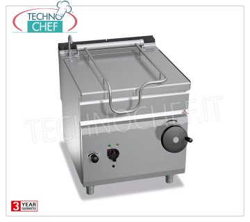 Technochef - Electric Bratt Pans, Manual Overturning, Capacity 80 lt, Mod.E9BR8 / I Electric tilting braising pan, BERTOS, MAXIMA 900 line, MAXI-80 series, with 80 liter stainless steel pan, manual tilting, V.400 / 3 + N, Kw.9,6, Weight 147 Kg, dim.mm.800x900x900h