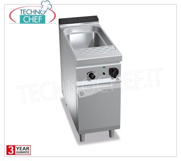 TECHNOCHEF - ELECTRIC PASTA COOKER on MOBILE, 1 GN 1/1 Tank, capacity 40 lt., MAXIMA 900 Line, Mod. E9CP40 ELECTRIC PASTA COOKER on MOBILE, BERTO'S, MAXIMA 900 Line, PASTA ITALY Series, 1 GN 1/1 Tank lt.40, V.400 / 3 + N, Kw.10.00, Weight 54 Kg, dim.mm.400x900x900h