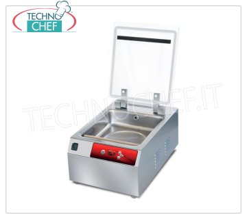 EUROMATIC - Technochef, Professional Bell Vacuum Machine, Bar 30 cm, Mod.ESSENTIAL BENCH VACUUM PACKAGING MACHINE for COUNTER PLUTONE LINE, Mod.ESSENTIAL, with CHAMBER 310x350x120h mm, SEALING BAR 300 mm, DIGITAL CONTROLS, external dimensions mm 370x530x250h