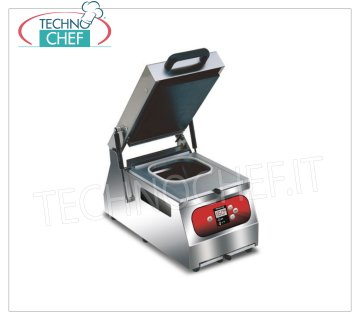 EUROMATIC - Technochef, Manual sealing machine for trays, Mod.SEAL 300 DIGIT MANUAL bench-top thermosealer for pre-formed trays, DIGITAL CONTROLS, for containers with max dimensions of 250x196 mm, V 230/1, 0.6 Kw, external dimensions 280x500x600h mm
