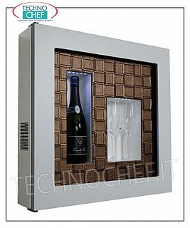Wine pictures EXHIBITOR FRAMEWORK, REFRIGERATED and NEUTRAL, for 1 bottle and 2 glasses, version with WHITE FRAME, FACE CROSS BRONZE LEATHER bottom, illuminated with NATURAL WHITE or BLUE LED, dim.mm. 600x155x600h