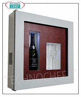 Wine pictures EXHIBITOR, REFRIGERATED and NEUTRAL WINE FRAME, for 1 bottle and 2 glasses, version with WHITE FRAME, RED PYTHON LEATHER fund, illuminated with NATURAL WHITE or BLUE LED, dim.mm. 600x155x600h