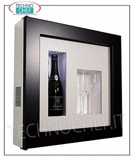 Wine pictures EXHIBITOR WINE FRAME, REFRIGERATED and NEUTRAL, for 1 bottle and 2 glasses, version with DARK BROWN FRAME, WHITE LAMINATE bottom, illuminated with NATURAL WHITE or BLUE LED, dim.mm. 600x155x600h