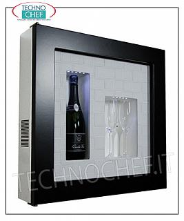 Wine pictures EXHIBITOR, REFRIGERATED and NEUTRAL WINE FRAMEWORK, for 1 bottle and 2 glasses, version with DARK BROWN FRAME, WHITE FACE CROSS LEATHER bottom, NATURAL WHITE or BLUE LED illuminated, dim.mm. 600x155x600h