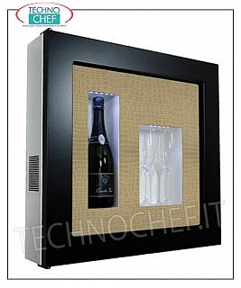 EXHIBITOR WINE FRAME, REFRIGERATED and NEUTRAL, with 1 BOTTLE and 2 GLASSES EXHIBITOR FRAMEWORK, REFRIGERATED and NEUTRAL, for 1 bottle and 2 glasses, version with DARK BROWN FRAME, PYTHON BEIGE LEATHER FACE background, NATURAL WHITE or BLUE LED illuminated, dim.mm. 600x155x600h