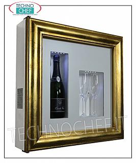 Wine pictures EXHIBITOR FRAMEWORK, REFRIGERATED and NEUTRAL, for 1 bottle and 2 glasses, version with PATENTED GOLD FRAME, WHITE LAMINATE bottom, NATURAL WHITE or BLUE LED illuminated, dim.mm. 600x155x600h
