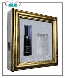 Wine pictures EXHIBITOR WINE FRAME, REFRIGERATED and NEUTRAL, for 1 bottle and 2 glasses, version with PATINATED GOLD FRAME, WHITE CROSS FACE LEATHER bottom, NATURAL WHITE or BLUE LED illuminated, dim.mm. 600x155x600h