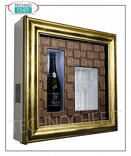 Wine pictures EXHIBITOR FRAMEWORK, REFRIGERATED and NEUTRAL, for 1 bottle and 2 glasses, version with PATENTED GOLD FRAME, FACE LEATHER CROSS BRONZE, illuminated with NATURAL WHITE or BLUE LED, dim.mm. 600x155x600h