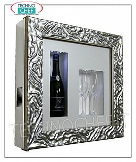 Wine pictures EXHIBITOR FRAMEWORK, REFRIGERATED and NEUTRAL, for 1 bottle and 2 glasses, version with FRAME