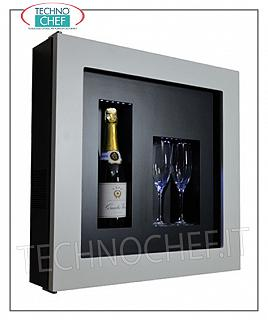 Wine pictures EXHIBITOR FRAMEWORK, REFRIGERATED and NEUTRAL, for 1 bottle and 2 glasses, version with WHITE FRAME, background in BLACK LAMINATE, illuminated with NATURAL WHITE or BLUE LED, dim.mm. 600x155x600h