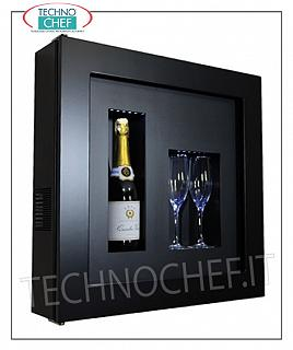 Wine pictures EXHIBITOR FRAMEWORK, REFRIGERATED and NEUTRAL, for 1 bottle and 2 glasses, version with BLACK FRAME, BLACK LAMINATE bottom, illuminated with NATURAL WHITE or BLUE LED, dim.mm. 600x155x600h