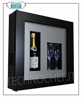 Wine pictures EXHIBITOR FRAMEWORK, REFRIGERATED and NEUTRAL, for 1 bottle and 2 glasses, version with BLACK FRAME, ALUMINUM LAMINATE bottom, illuminated with NATURAL WHITE or BLUE LED, dim.mm. 600x155x600h