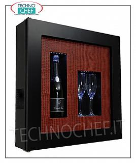 Wine pictures EXHIBITOR, REFRIGERATED and NEUTRAL WINE PAINTING, for 1 bottle and 2 glasses, version with BLACK FRAME, BACK in RED PYTHON LEATHER, illuminated with NATURAL WHITE or BLUE LED, dim.mm. 600x155x600h