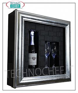 Wine pictures EXHIBITOR WINE FRAME, REFRIGERATED and NEUTRAL, for 1 bottle and 2 glasses, version with PATENTED SILVER FRAME, BLACK CROSS LEATHER BACK bottom, NATURAL WHITE or BLUE LED illuminated, dim.mm. 600x155x600h